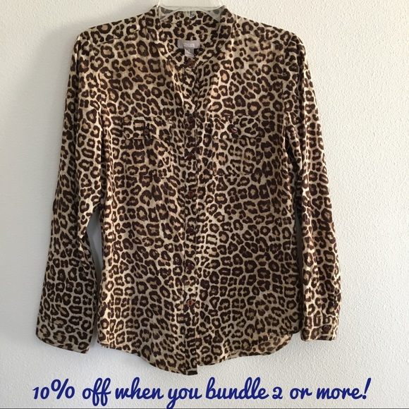 3c4a1eb0139 Chico's Tops | Chicos Leopard Print Long Sleeve Blouse | Poshmark